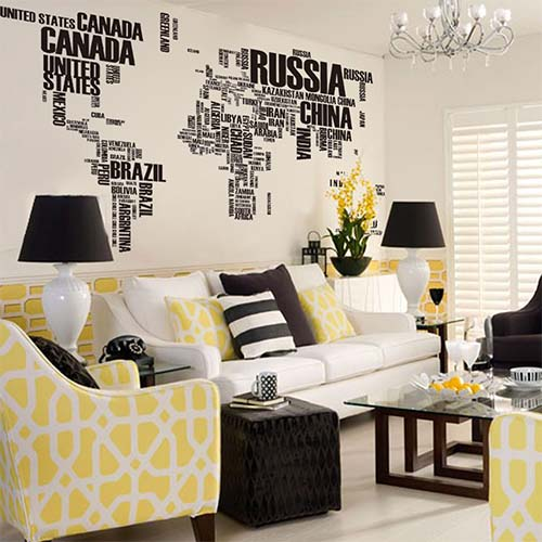 Large Black World Map Wall Art Stickers for Living Room