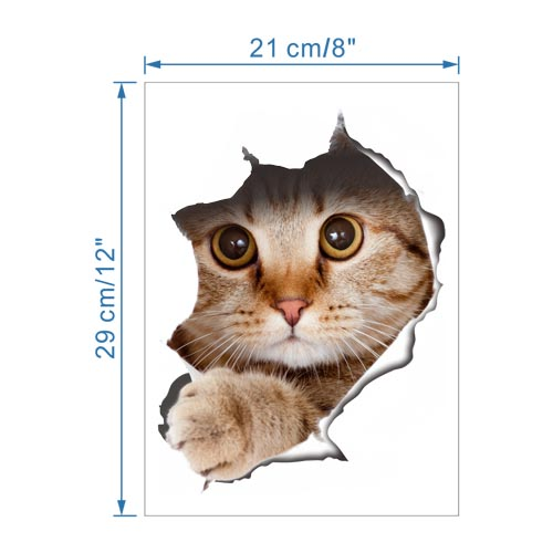 Waterproof Vinyl Cute Cat Wall Art Stickers for Toilet or Bathroom