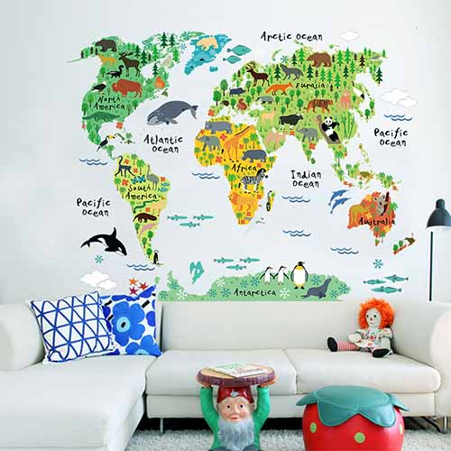 Large yet Removable World Map Wall Art Decals for Living Room