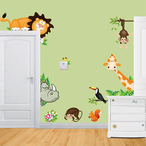 Removable Lovely Animal Wall Art Stickers for Kids Bedroom