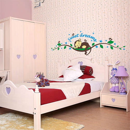 Cute Monkey Wall Art Decor Stickers for Kids Bedroom or Bathroom