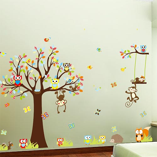 Childrens Vinyl Tree Wall Decal Stickers for Nursery or Kids Room