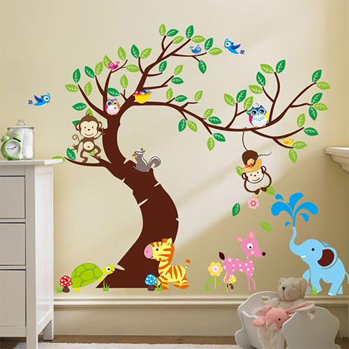 Realistic Jungle Animal Wall Art Decals for Kids Bedroom