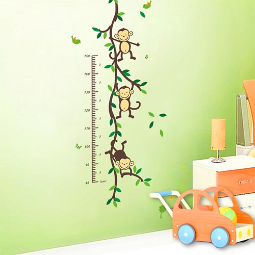 Cute Children's Monkey Height Chart Wall Sticker
