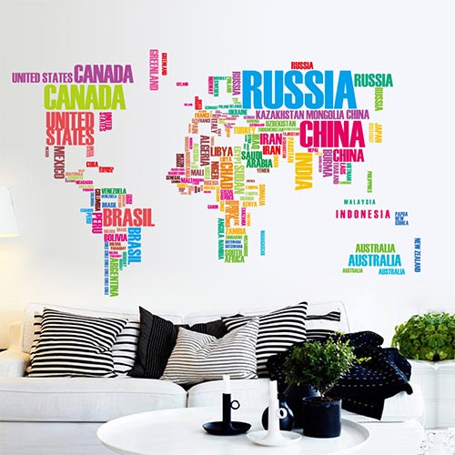 Colorful World Map Wall Art Decor Stickers for Living Room