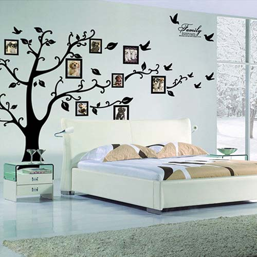 Large Decorative Family Tree Wall Decal with Picture Frames