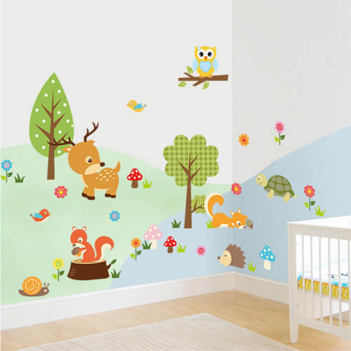 Cute Woodland Animal Wall Art Decor for Baby Bedroom or Playroom